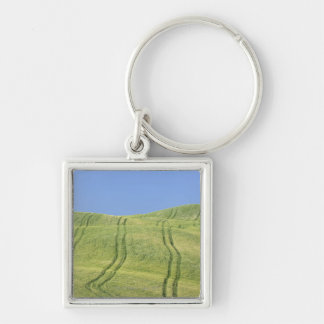 Tire Tracks in Wheat Field, Val d'Orcia, Siena Keychain