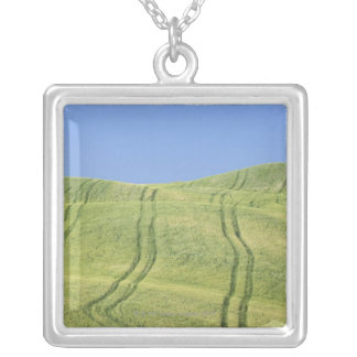 Tire Tracks in Wheat Field, Val d'Orcia, Siena Silver Plated Necklace