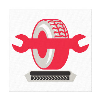 Tire With Spanner Wrench Retro Gallery Wrapped Canvas