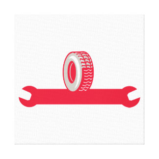Tire With Spanner Wrench Retro Canvas Prints