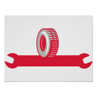 Tire With Spanner Wrench Retro Poster