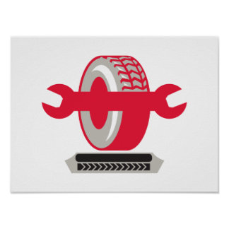 Tire With Spanner Wrench Retro Print