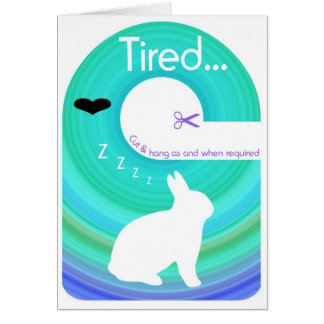 Tired Bunny!..Send a Gift Card Door Hanger Greeting Card