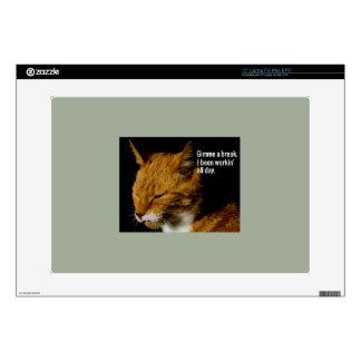 "Tired Cat Design - ""Gimme a break."" Laptop Skins"