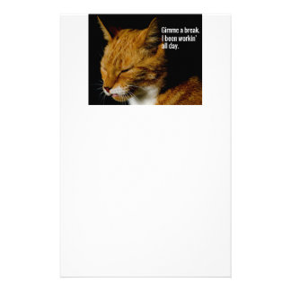 "Tired Cat Design - ""Gimme a break."" Stationery"