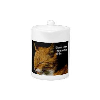 """Tired Cat Design - """"Gimme a break."""" Teapot"""