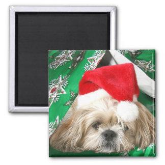 Tired Christmas Shih Tzu Fridge Magnet