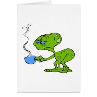 Tired Coffee Alien Greeting Card