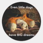 Tired Cowboy Puppies Classic Round Sticker