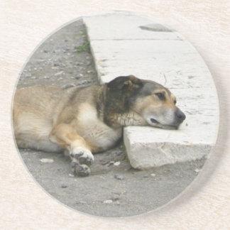Tired Dog coaster, customizable Drink Coaster