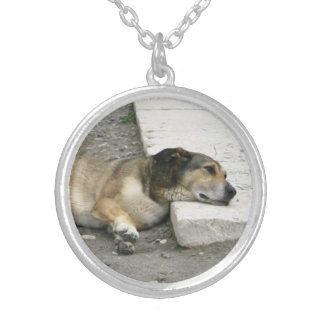 Tired Dog necklace, customizable Silver Plated Necklace