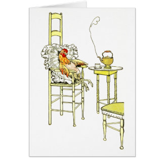 Tired Hen Having a Cuppa Card