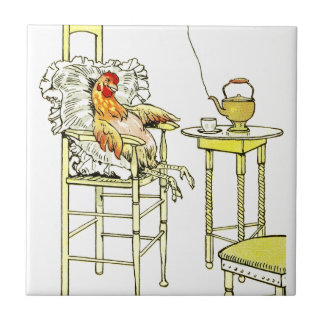 Tired Hen Having a Cuppa Ceramic Tile