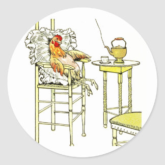 Tired Hen Having a Cuppa Classic Round Sticker