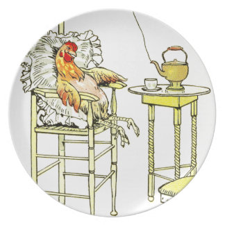 Tired Hen Having a Cuppa Dinner Plate