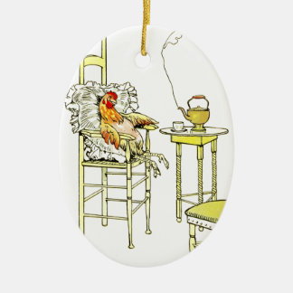Tired Hen Having a Cuppa Double-Sided Oval Ceramic Christmas Ornament