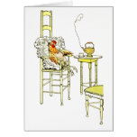 Tired Hen Having a Cuppa Greeting Card
