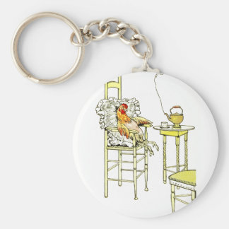 Tired Hen Having a Cuppa Keychain