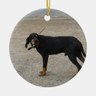 Tired Hunting Dog Double-Sided Ceramic Round Christmas Ornament