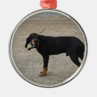 Tired Hunting Dog Round Metal Christmas Ornament