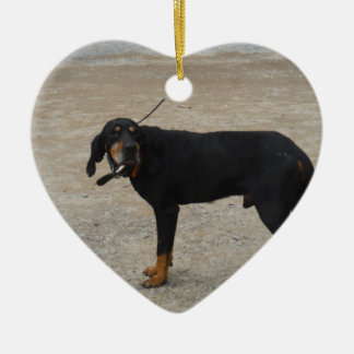 Tired Hunting Dog Double-Sided Heart Ceramic Christmas Ornament