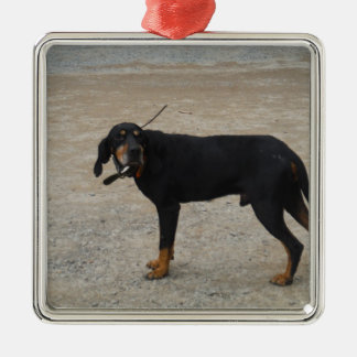 Tired Hunting Dog Square Metal Christmas Ornament