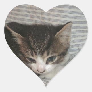 Tired Kitty Heart Sticker