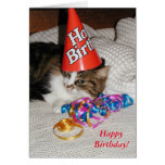 Tired Kitty in Hat Biethday Card