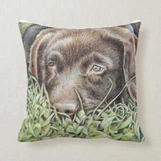 Tired Labrador Puppy Throw Pillow