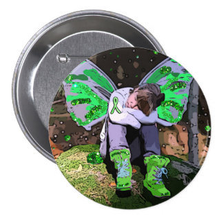 Tired Lyme Disease Warrior with Angel Wings Button