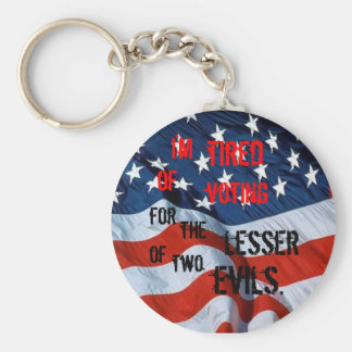 Tired of Voting for the Lesser of two evils Basic Round Button Keychain