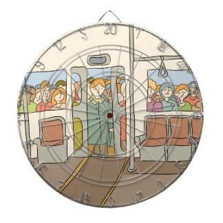 Tired People Riding Subway Cartoon Dartboard