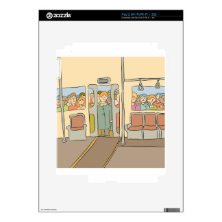 Tired People Riding Subway Cartoon Decals For iPad 2