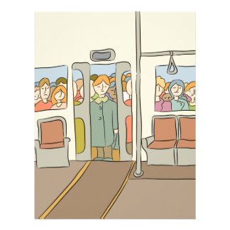Tired People Riding Subway Cartoon Letterhead