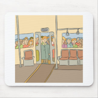 Tired People Riding Subway Cartoon Mouse Pad