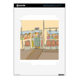 Tired People Riding Subway Cartoon Skins For iPad 3