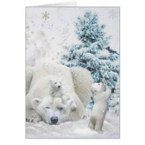 Tired Polar Bear Mother With Babies Card