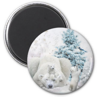 Tired Polar Bear Mother With Babies Magnet