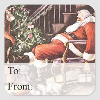 Tired Santa Vintage Gift Tag Sticker