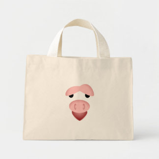 Tired Smiling Pig Face Mini Tote Bag