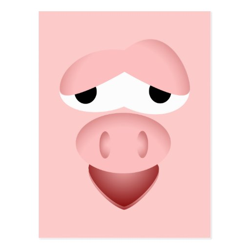 Tired Smiling Pig Face Postcard