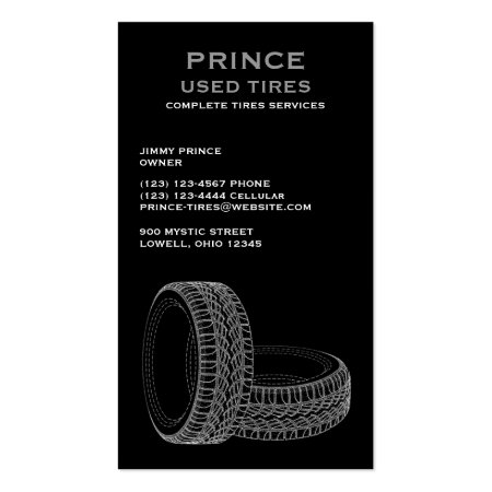 Tires on Black Background Business Cards