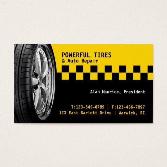 Tires auto repair business card zazzlecom for Mechanic shop business cards
