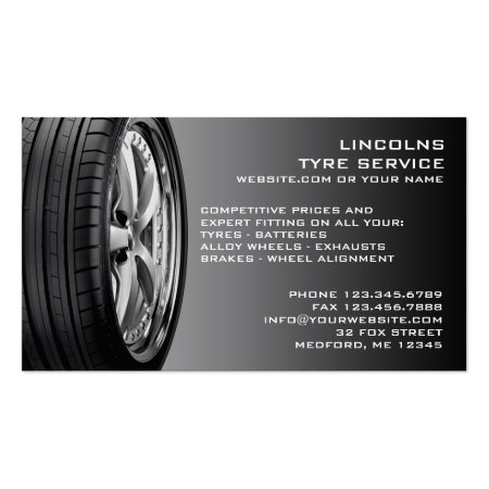 Black Car Tyres on Grey Background Tyre Services Business Cards