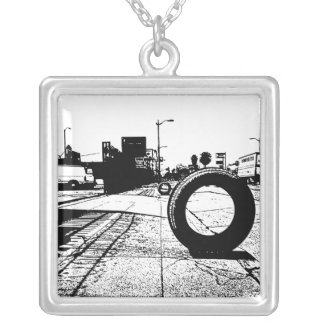 Tires On The Street Square Pendant Necklace