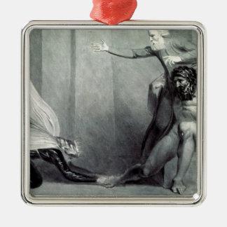 Tiriel, llevado de nuevo al palacio adorno navideño cuadrado de metal