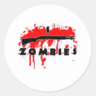 Tiro a zombis pegatina redonda