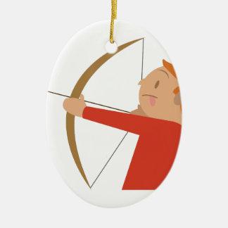 Tiro al arco adorno navideño ovalado de cerámica