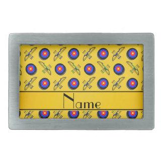 Tiro al arco amarillo conocido personalizado hebilla de cinturón rectangular