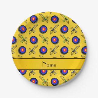 Tiro al arco amarillo conocido personalizado plato de papel de 7 pulgadas